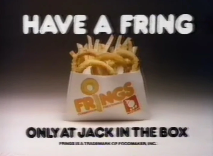 Jack in the Box's  Frings were a combination of onion rings & french fries served in the same bag or carton. They were introduced in 1979 & discontinued shortly thereafter in the early 1980s.  #POPCulture https://t.co/EidVoeD5mJ
