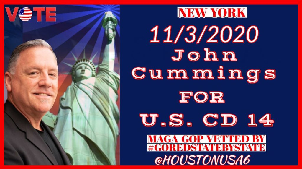 New York General Election 11/3/20 Early voting starts 10/24 Vote for John Cummings US CD14 #BackTheBlue #LawAndOrder #FillTheSeat #GoRedStateByState https://t.co/UmvPEjsaLV