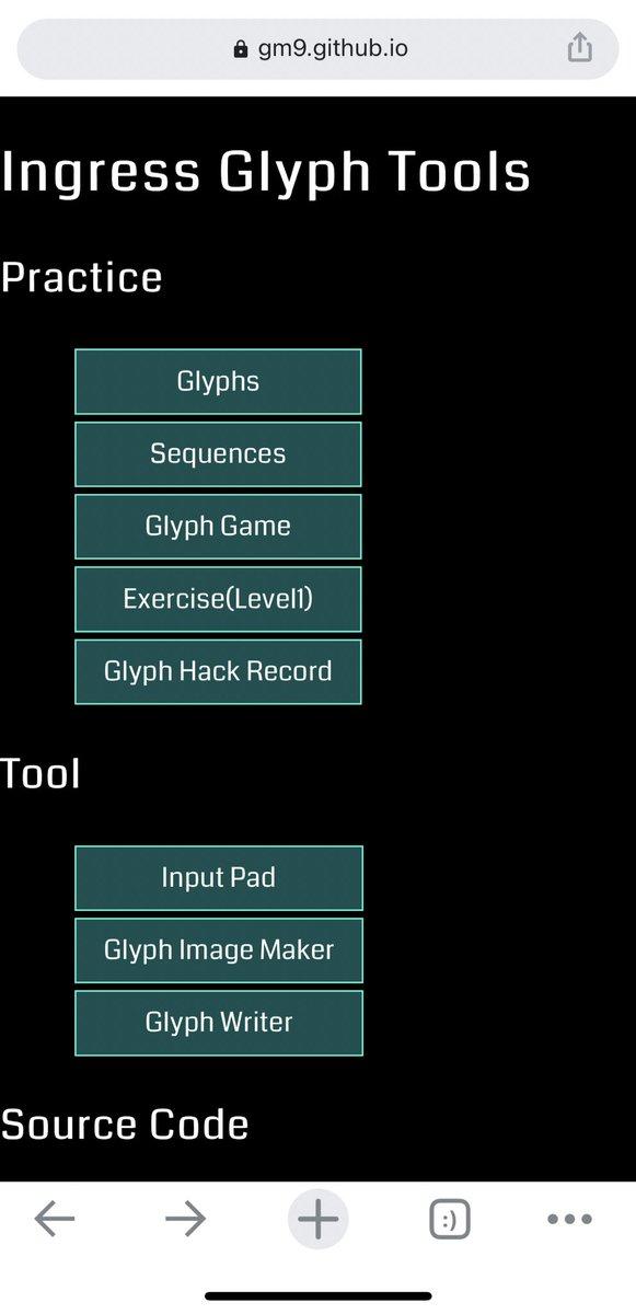 Ingress Glyph Tools というものを見つけたデザイン的に旧スキャナーの頃からあったものだと思うけど、気軽にグリフの練習ができて便利だな😆#Ingress