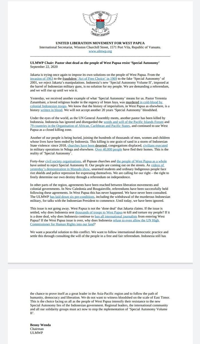 """Good morning, Chairman ULMWP @BennyWenda released a statement, saying that the priest """"murdered in cold blood by colonial Indonesian troops"""".   Itulah kenapa saya sarankan tidak memakai 'Kelompok Kriminal Bersenjata' karena hanya dibalas dengan 'Tentara Kolonial Indonesia'. https://t.co/SHkqXtgxwJ"""