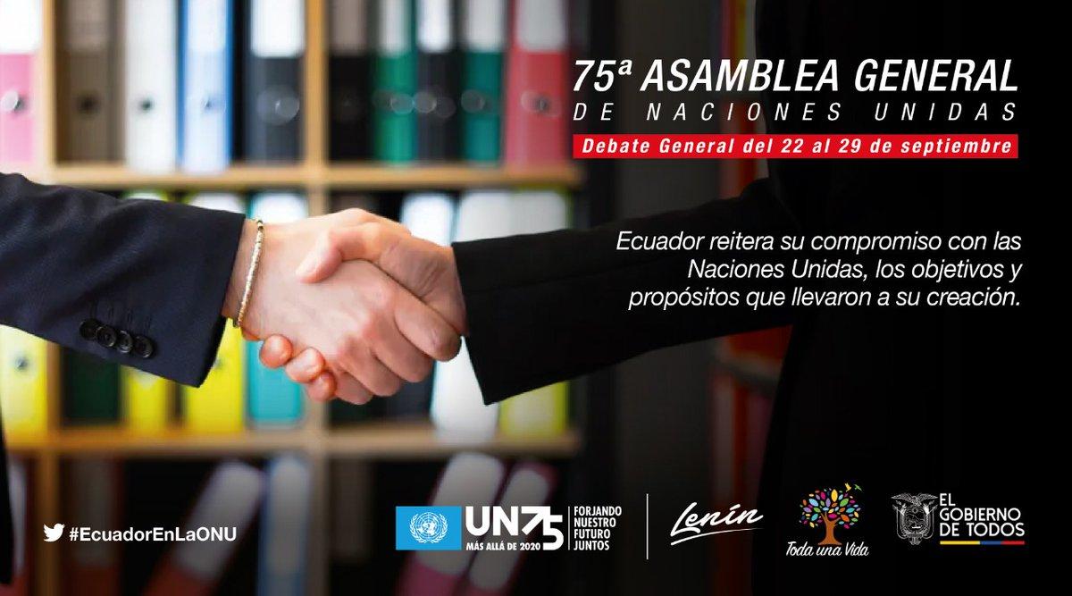 #EcuadorEnLaONU | Durante su participación en #UNGA75 🇺🇳, nuestro país reafirmará la necesidad del multilateralismo para afrontar los problemas comunes que afectan la humanidad. https://t.co/qMtcqLotnk