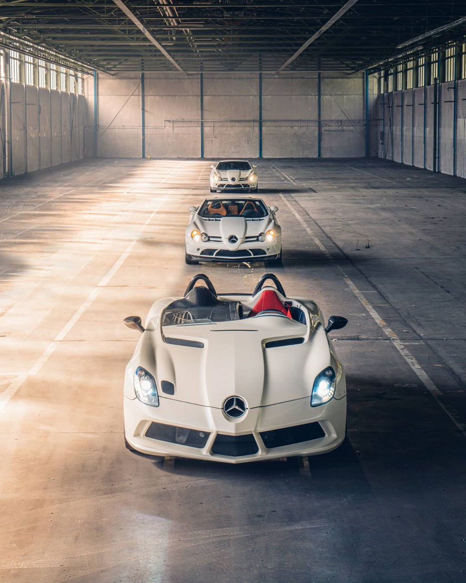 The evolution of a unicorn from back to front: the Mercedes-Benz SLR McLaren 722, 722S and the ultimate edition, the Stirling Moss. #SLR