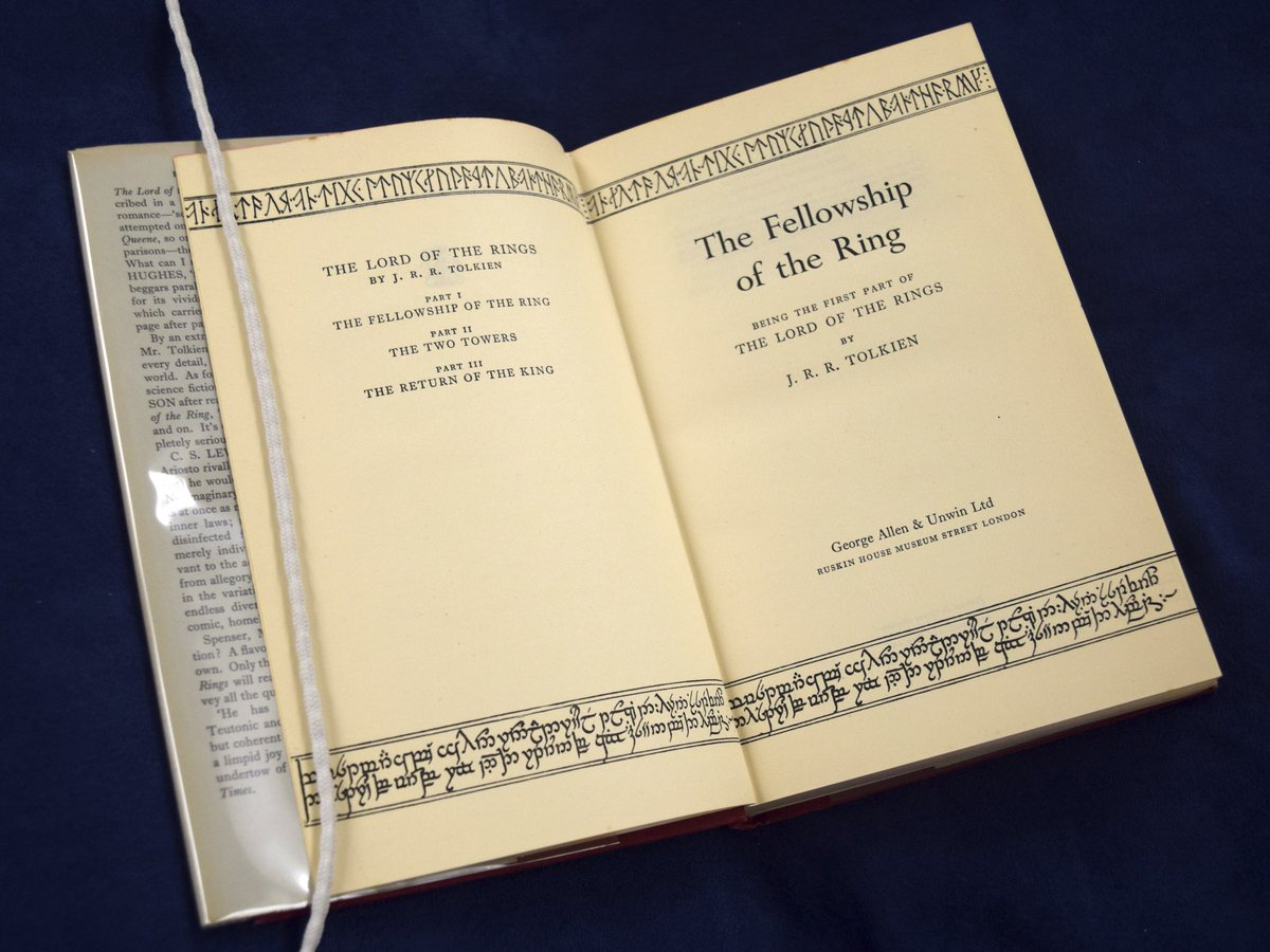 Happy #HobbitDay, Razorbacks! In Tolkien's books The Hobbit and The Lord of the Rings, characters Bilbo and Frodo Baggins share a birth date of September 22. Pictured is a first edition of The Lord of the Rings from our Rare Books in Special Collections. #UARK #UARKLibraries https://t.co/Km7SrK271S