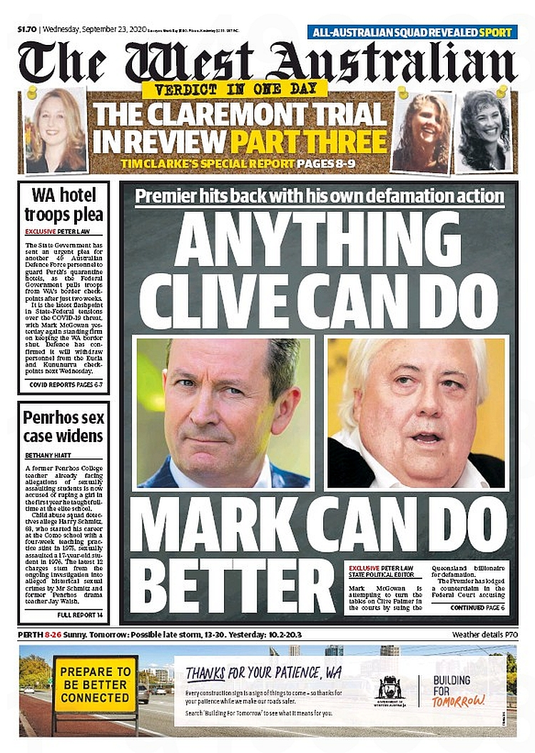 Anything Clive Can Do, Mark Can Do Better. Premier hits back with his own defamation action ~ @PeterJohnLaw  #frontpagestoday #Australia #TheWestAustralian #buyapaper 🗞 https://t.co/ozY3zLbvbc