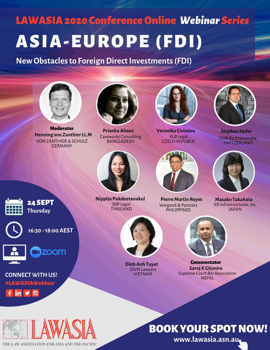 Do not miss our complimentary webinar tomorrow: Asia-Europe (FDI) and learn valuable insights from our panel of experts! Register here: https://t.co/LtgN9eA291 #lawasiawebinar #FDI #business #law #legalprofession #AsiaPacific https://t.co/1D4eiOqc1F