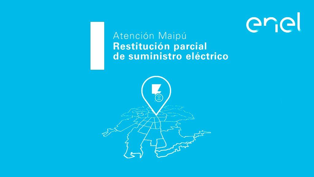 [20:47] #CorteDeEnergía que afecta a sectores desde Av. Los Pajaritos hasta Av. Tres Poniente. en Maipú. Un 77% de clientes inicialmente afectados ya cuentan con suministro eléctrico. Hora estimada de reposición es a las 23:40 hrs. Continuamos trabajando. https://t.co/Qp9Zqe9qMj