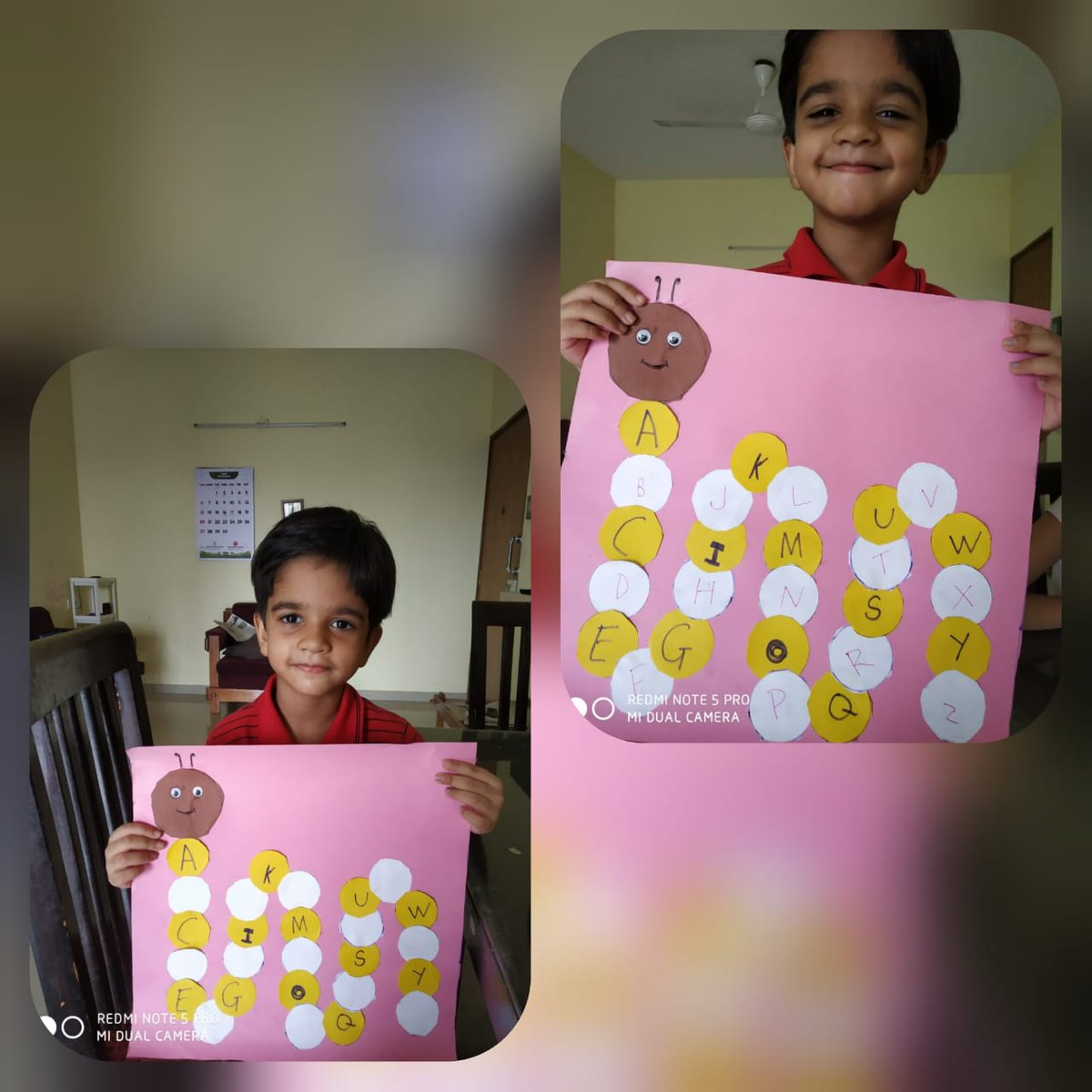 After writing all the 13 letters on the coloured circles they found out the missing #letters  and wrote them in the white circles one by one. In this way they completed the #caterpillar's body with the missing letters. https://t.co/71ntFHg4MO