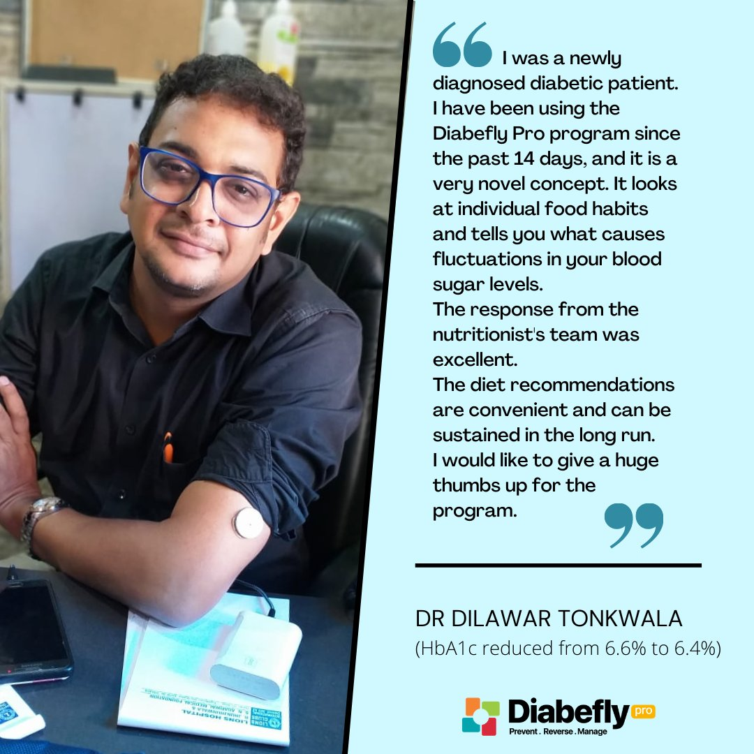 Dr Dilawar Tonkwala is thankful to the Diabefly Pro team for getting his blood sugar levels under control. He also lost 5.5 kgs during the program.   If you want to join the Diabefly Pro family today, visit https://t.co/fpD6BE8A26   #diabetes #DigitalTherapeutics #digitalhealth https://t.co/LxMmvBRDkR