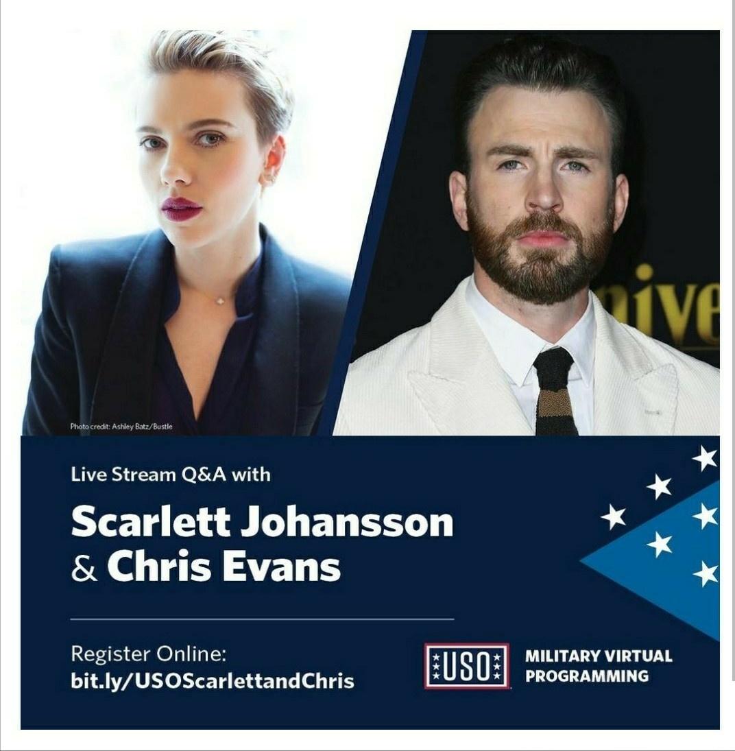 📢 | Trabalho em dose dupla? TEMOS!  Chris Evans e Scarlett Johansson irão participar, de uma live Q&A da 'United Service Organizations' (USO) no dia 08 de outubro. https://t.co/4jjVva4PhN