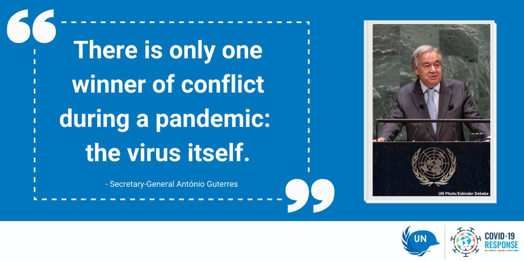 Secretary-General @antonioguterres renewed his call for a global ceasefire due to #COVID19 in his address to the #UNGA.  Peace and solidarity are 🔑 to fighting this pandemic. 🌎🤝 #UN75 https://t.co/OGgLr10Meb