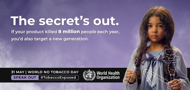 𝐅𝐚𝐜𝐭:  #Tobacco 🚭kills more than 8 million people each year. More than 7 million of those deaths are the result of direct tobacco use while around 1.2 million are the result of non-smokers being exposed to second-hand smoke. #TobaccoExposed #SpeakOut #NCDs https://t.co/GL3aEhs0Ff