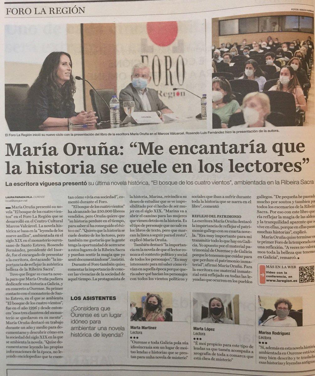"""En el @CCulturalOu de la @DeputacionOU se abrió la temporada del #Foro @LaRegion con @maria_oruna, presentando """"El bosque de los cuatro vientos"""". https://t.co/p1XH4iCXzx"""