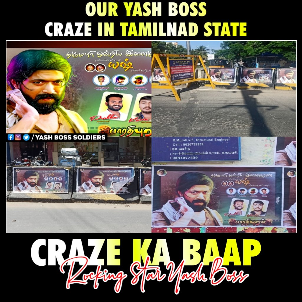 Boss Craze In Tamilnadu 🔥  Follow : @YashSoldiers   #YashBoss #Yash #KgfChapter2  @TheNameIsYash  #RockingStarYash https://t.co/fh8kkzFxSj