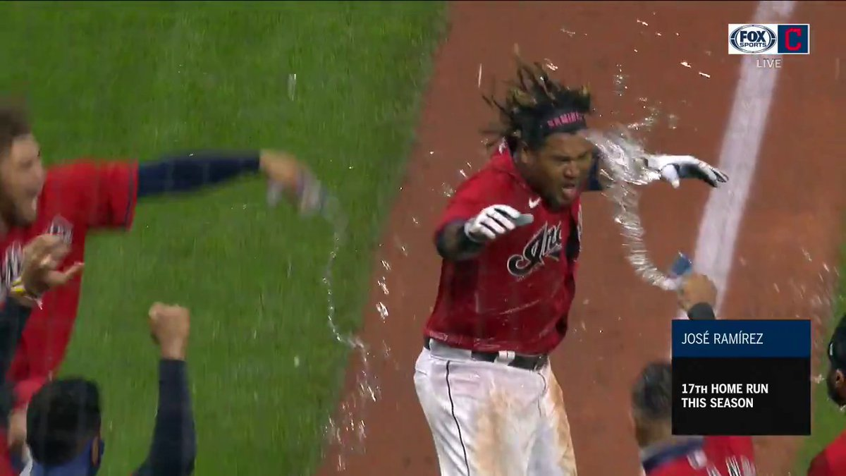 The playoff-clinching home run in Cleveland:
