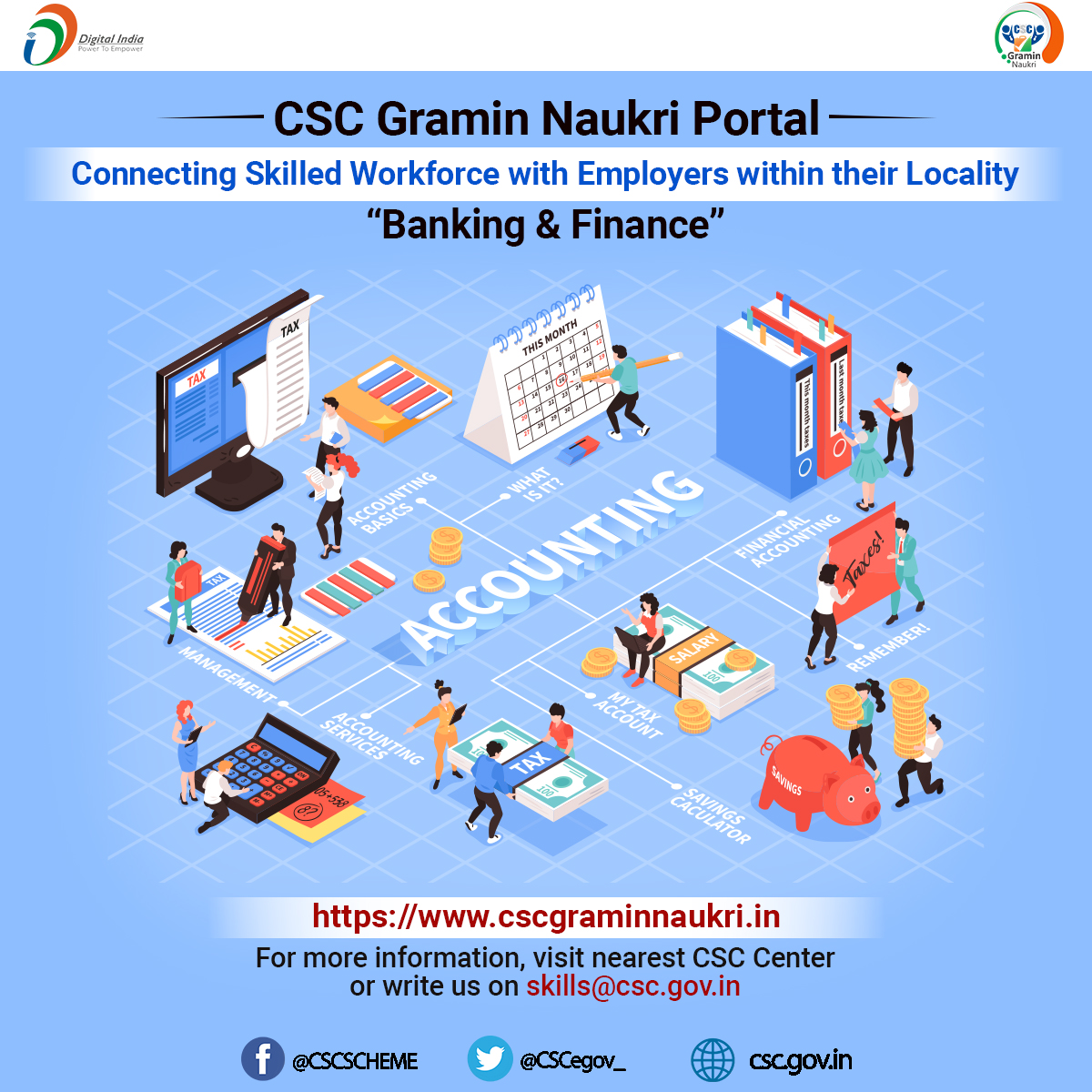 "CSC Gramin Naukri Portal!!  Connecting the skilled workforce with employers within their locality...""Banking & Finance""  Register Now: https://t.co/uAdg4IBkZz or write to us at skills@csc.gov.in  #CSC #DigitalIndia #TransformingIndia #WednesdayMotivation #WednesdayWisdom https://t.co/l4Ih0GJief"