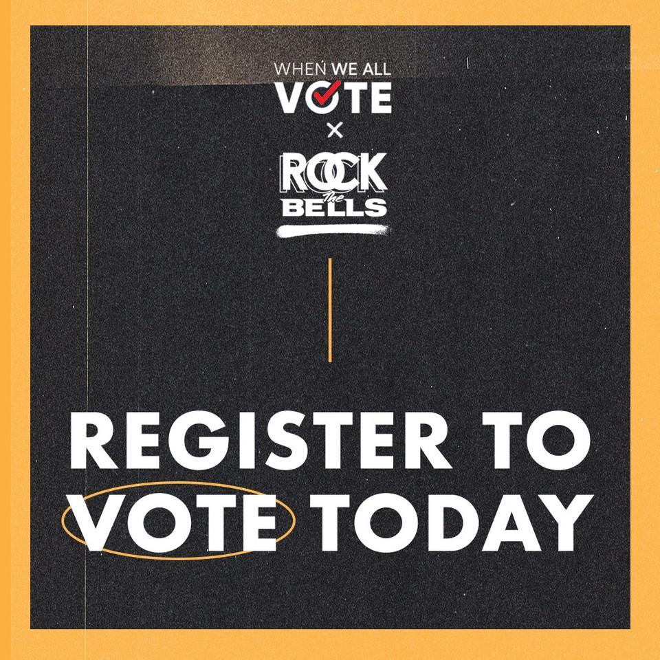 Rock The Bells has partnered with @MichelleObama @WhenWeAllVote to make sure our voices are heard this election. Let's get registered today and let's vote! #NationalVoterRegistrationDay