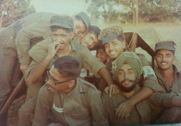 Came across this today : India's army and air chiefs during either Camp Greenhorn/Rover at NDA. They are tagged in the photograph ( Gen Naravne with specs and ACM Bhaduria with his hand around the Sikh cadet. Enjoy😊 https://t.co/t3ZP3cSNRA