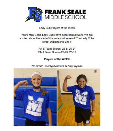 Frank Seale Players of the Week! @fishdoza @FSMSLadyCubs @FSMSCubs