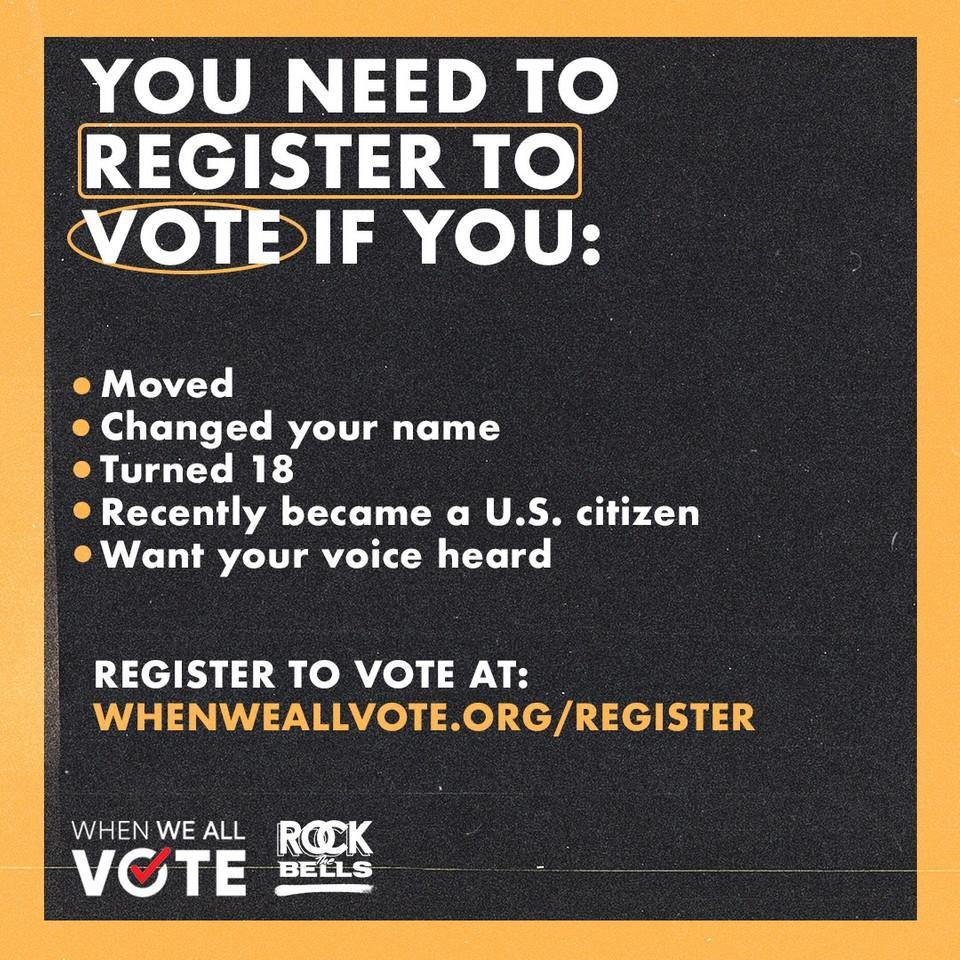 Today is National Voter Registration Day. Rock The Bells has partnered with @MichelleObama @WhenWeAllVote to make sure our voices are heard this election. Grab a homie and get registered to vote. ✊🏾 #nationalvoterregistrationday