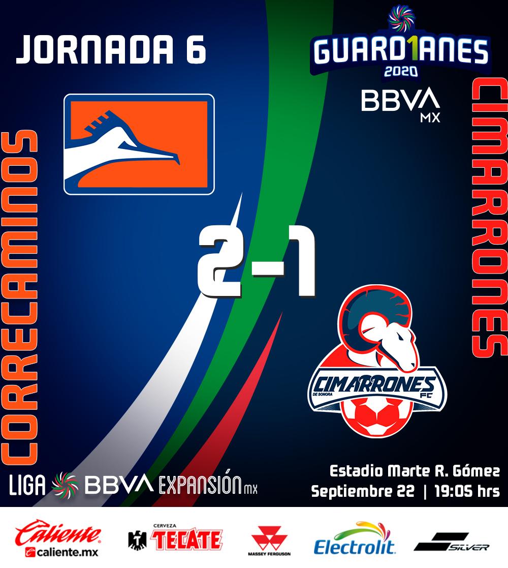 ¡Finalizan los 90 minutos en Tamaulipas!  Con dos golazos de Maximiliano Sigales @CFCorrecaminos 🔶 consiguió su segundo triunfo en casa del torneo al vencer 2-1 a @CimarronesFC en la #Jornada6 #Guard1anes2020 https://t.co/1dqjlfVcTf