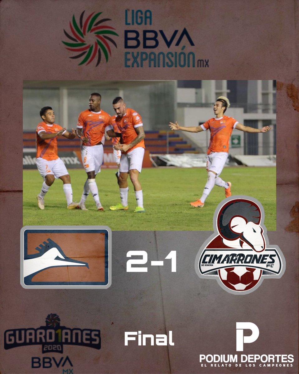 #LigaBBVAExpansionMX   Finaliza el encuentro en el Marte R Gomez con victoria para #Correcaminos 🐦 de dos goles a uno sobre #Cimarrones 🐏.   #Jornada6 #Guard1anes2020 https://t.co/VLHU3zk3jl