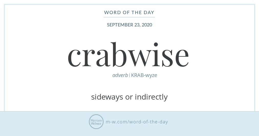 Good morning! Today's #WordOfTheDay is 'crabwise' https://t.co/NguqCltNW2 https://t.co/425DiGvBK4