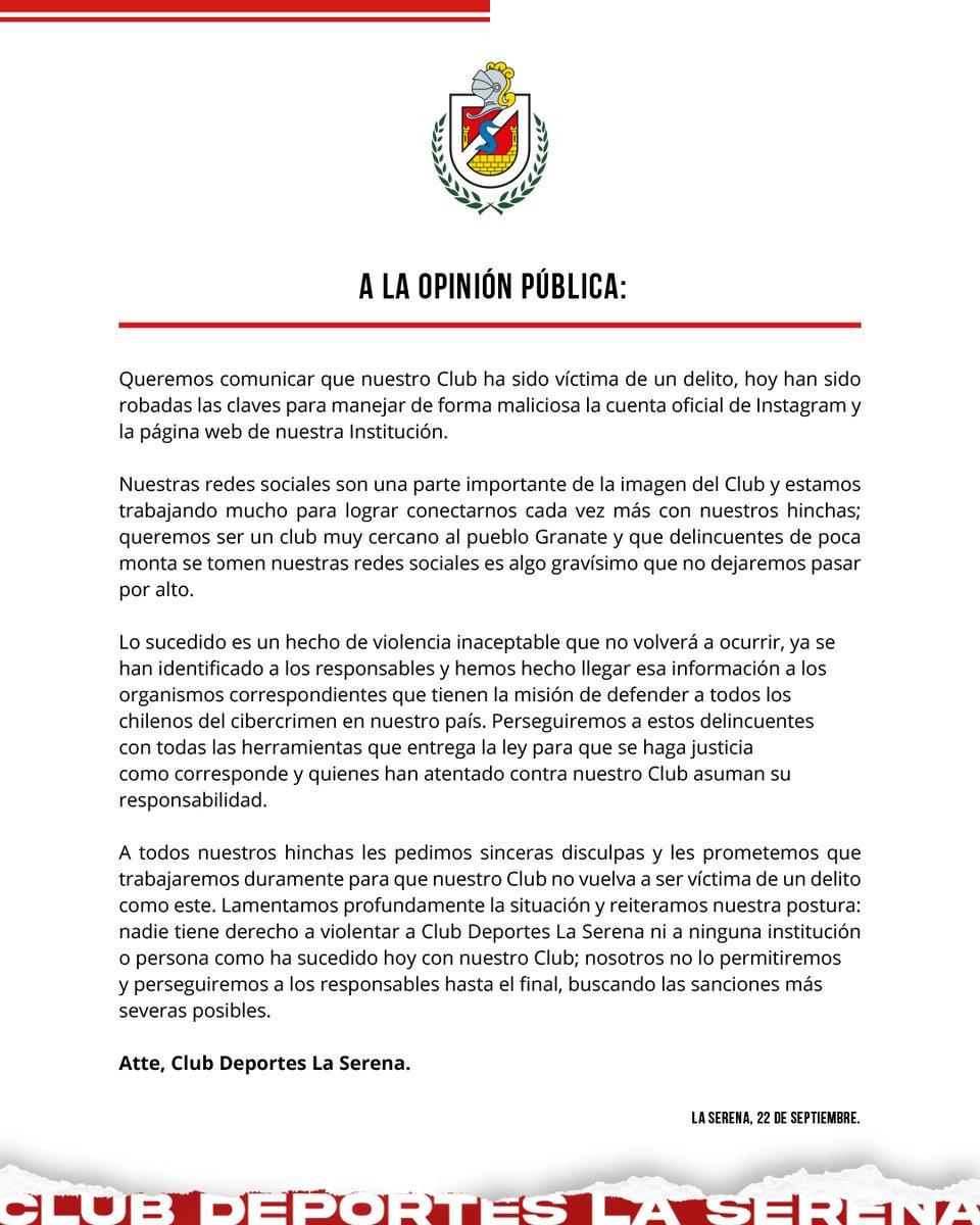 CLUB DEPORTES LA SERENA INFORMA ROBO DE CLAVES DE INSTAGRAM Y PAGINA WEB De a cuerdo a lo comunicado