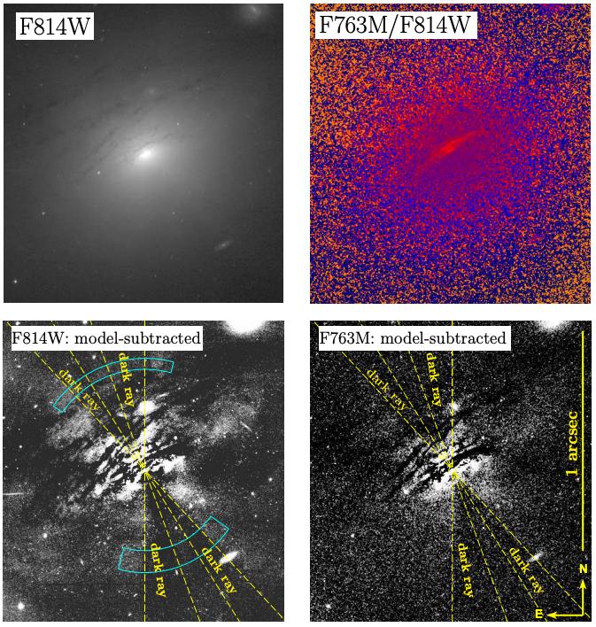 #キャルちゃんのarXiv読みIC 5063というAGNにおいて薄明光線(Crepuscular Rays)現象を観測。明るい光線はAGNからの連続放射のダスト散乱によるもの、暗い光線は中心核近傍の歪んだトーラスによるものではないかと推察。ApJL.
