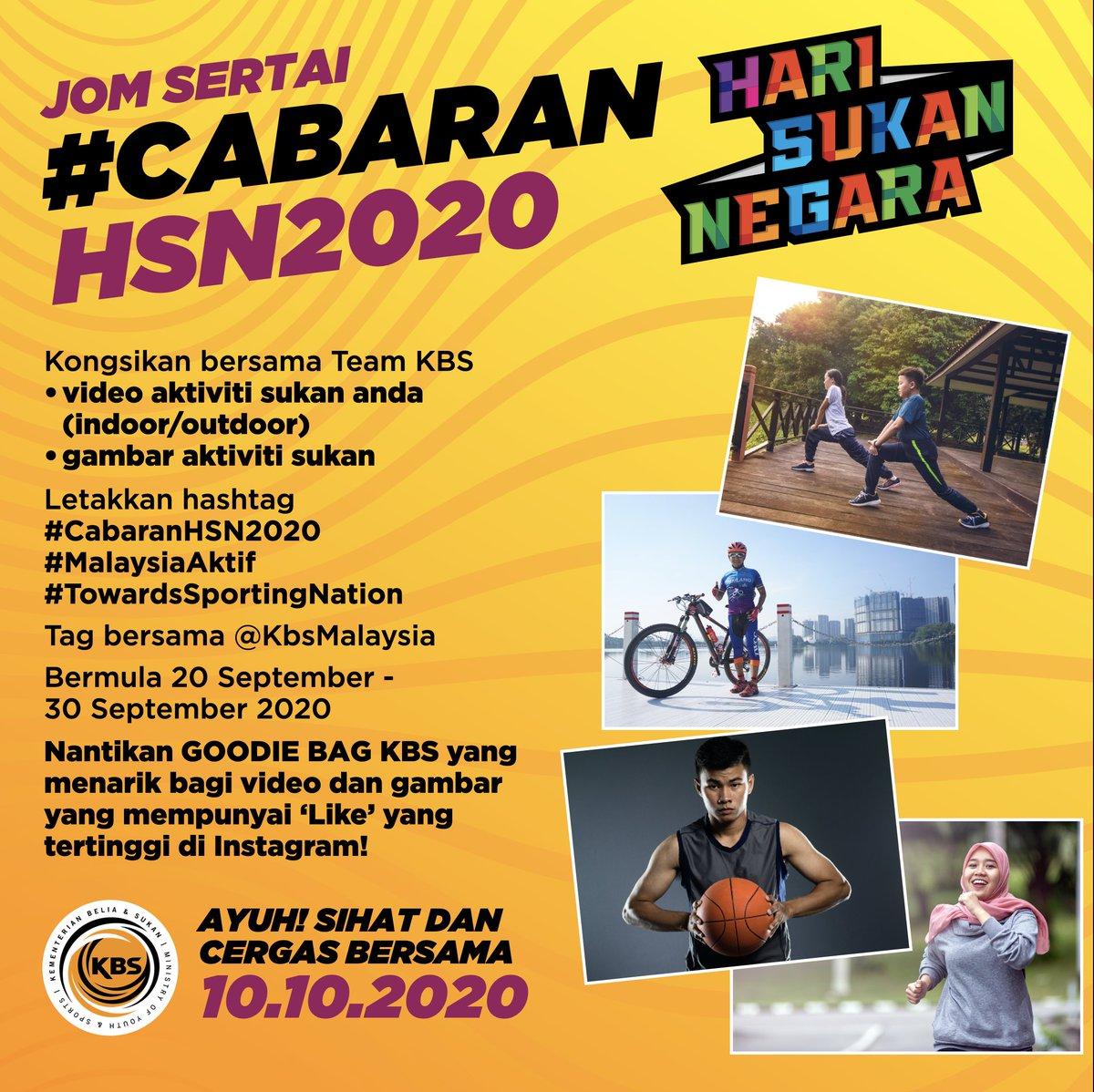 Hari Sukan Negara 2020  Team KBS menjemput seluruh rakyat Malaysia untuk menyertai #CabaranHSN2020. Jom kongsi video dan gambar aktiviti sukan anda dan letakkan hashtag #CabaranHSN2020 #MalaysiaAktif dan #TowardsSportingNation dan tag bersama @KbsMalaysia . #TeamKBS https://t.co/mpUYebm078