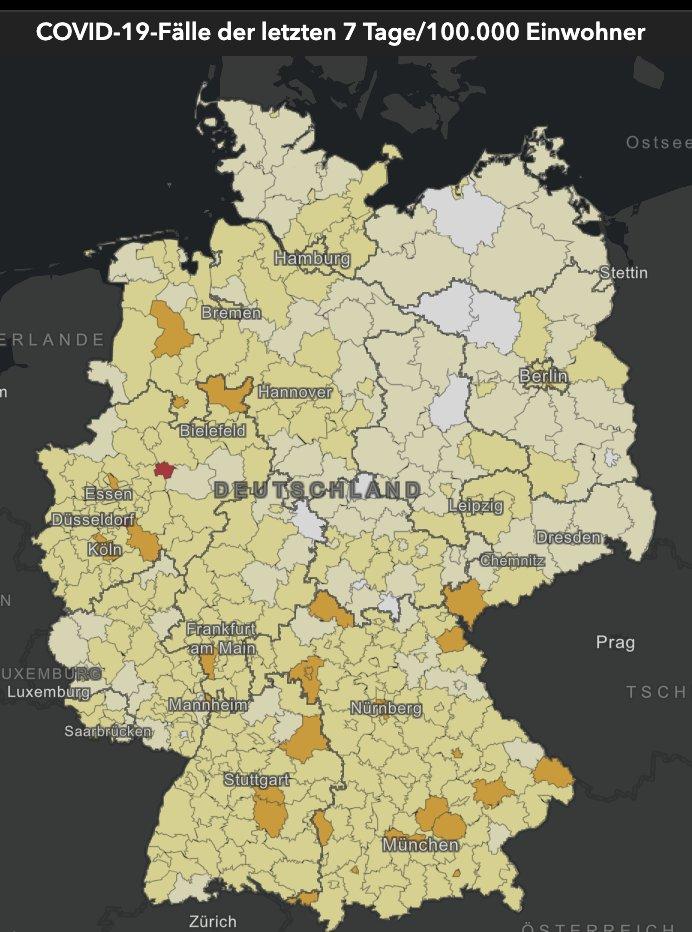 Würzburg und Cloppenburg raus, Remscheid rein: Die Zahl der #Corona-Hotspots in 🇩🇪 fällt laut RKI voin 3 auf 2.  Neue Fälle je 100.000 Einwohner in 7 Tagen laut RKI-Tagesstatistik:  Hamm 80 Remscheid 51  Alle anderen 399 Kreise liegen unter der 50er-Hotspot-Schwelle.  @welt https://t.co/20oOZqsjni