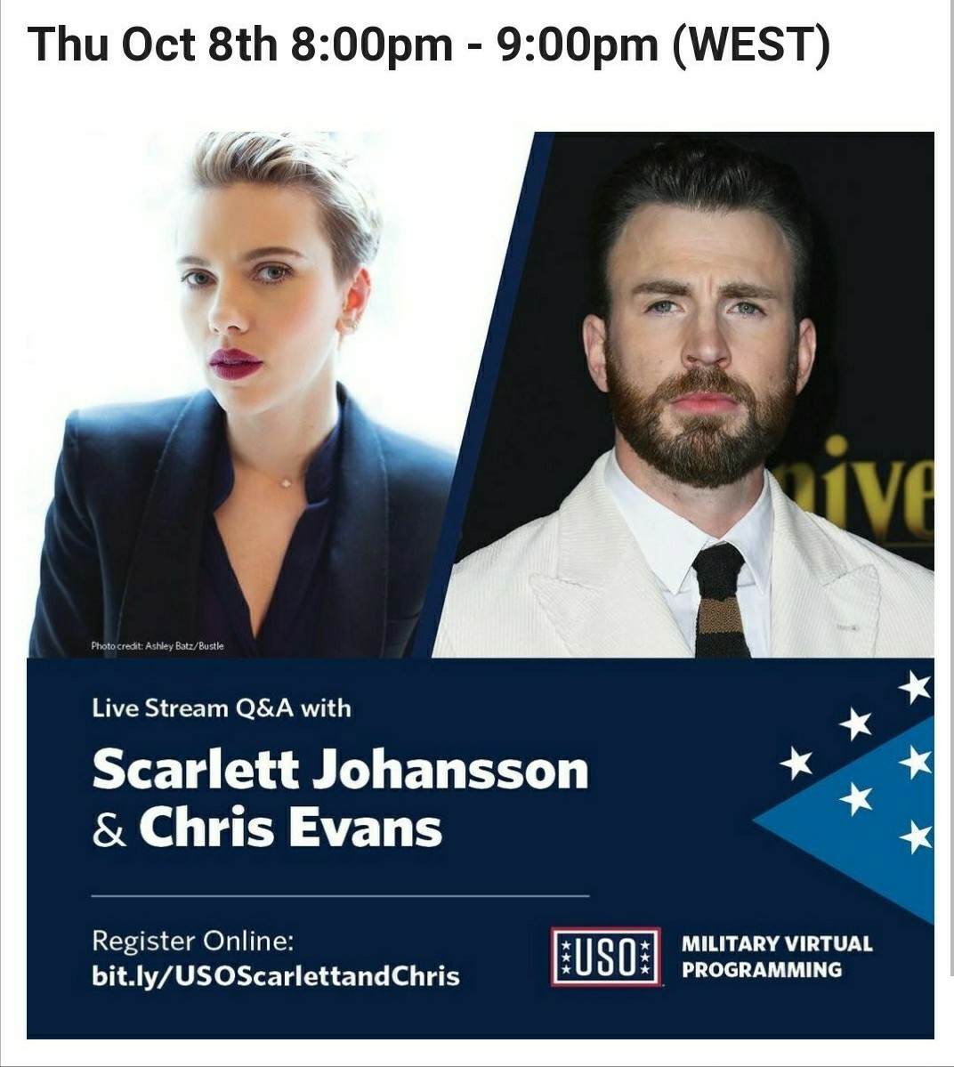 Livestream Q&A with Chris Evans & Scarlett Johansson on October 8.  [All USO MVP events are for Department of Defense ID holders and their dependents.] https://t.co/6K2Fqfe2RB