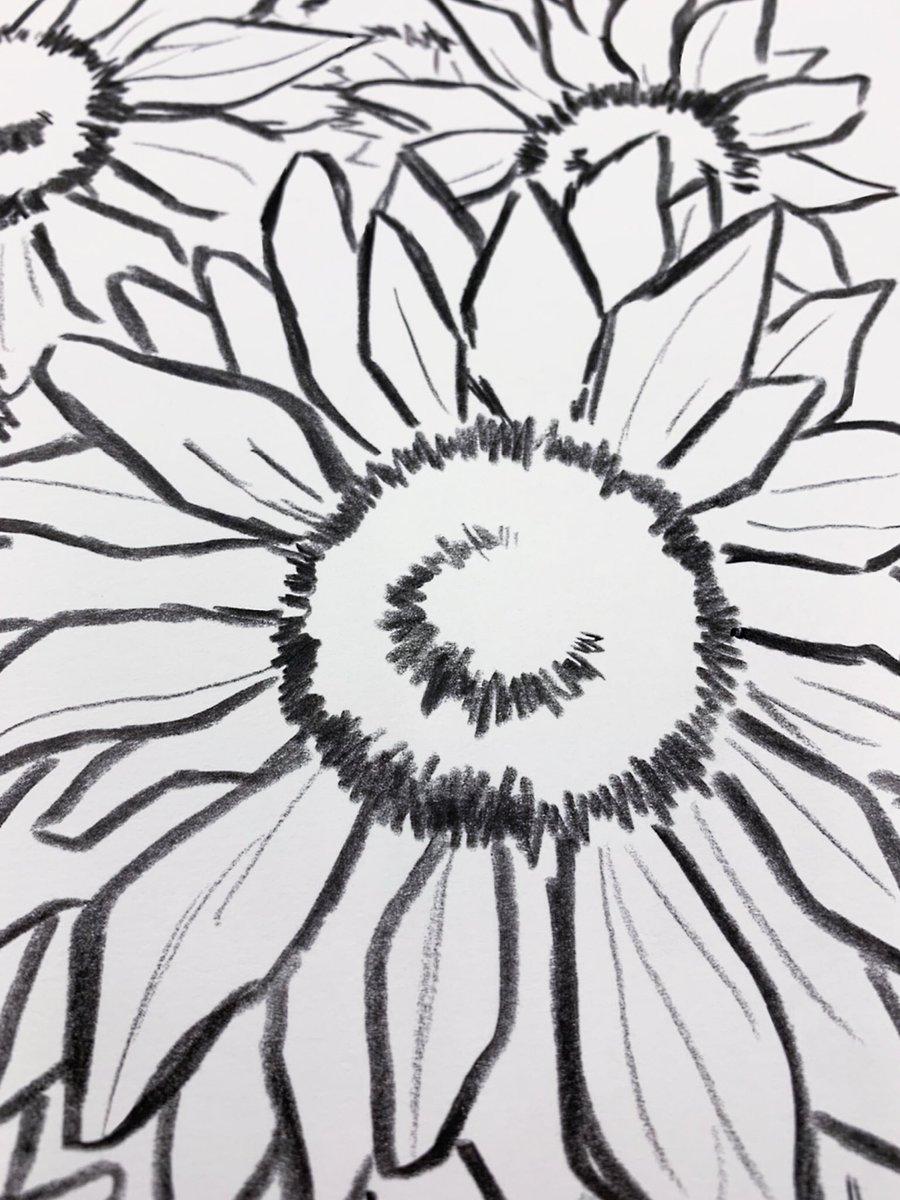 俺の大好きな花、ひまわり!ちゃんと実物を見ながら描いたんだ。花びら1枚1枚、丁寧にね。