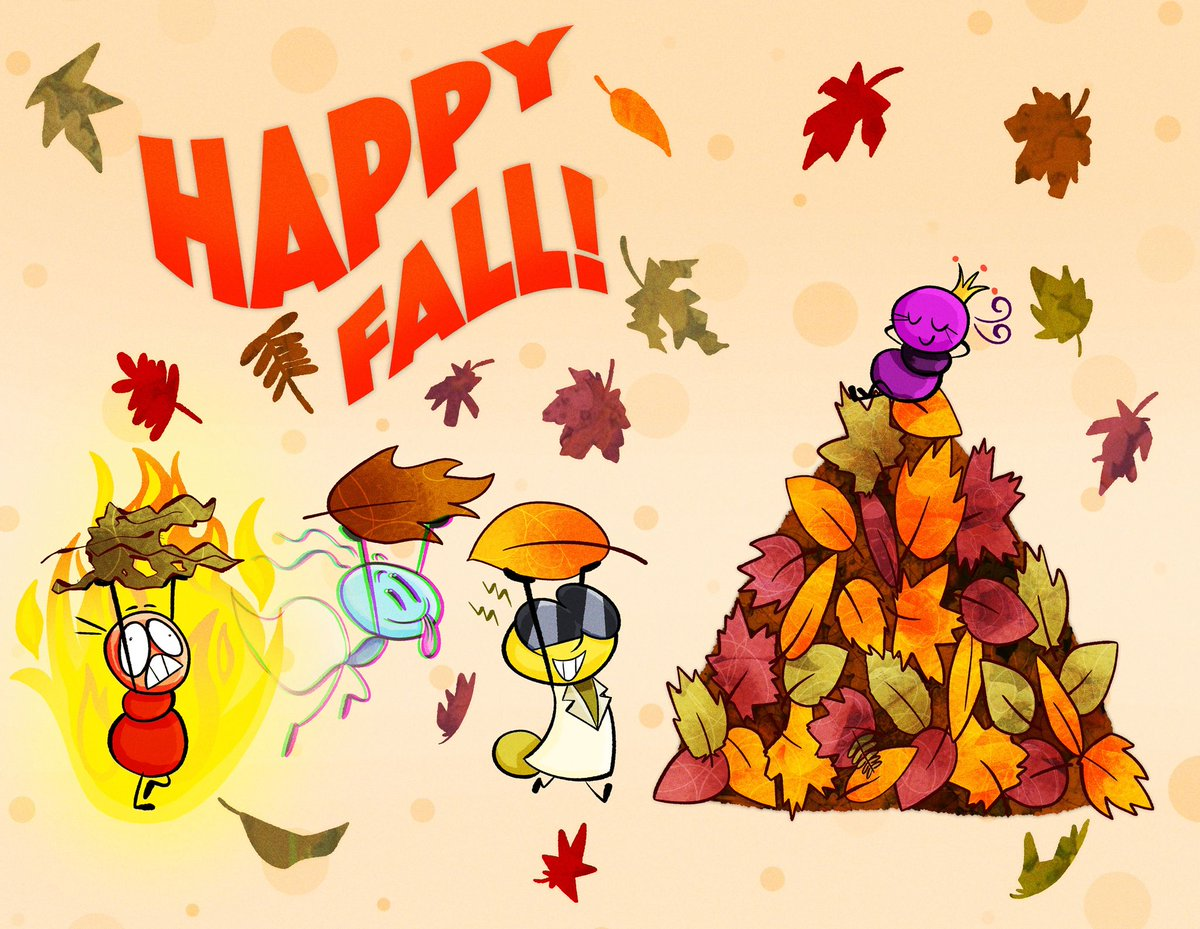 Happy first day of fall from Gigi and the Antics to YOU! 🍁🍂 design by @DelonWarren @DaveyJarrell  • • • #fall #autumn #leaves #leaveschanging #season #seasonschange #ants #acute #animation #happy #art #design #cartoon #fire #ghost #queen #science #regina #firstdayoffall https://t.co/IIXoGSucvE