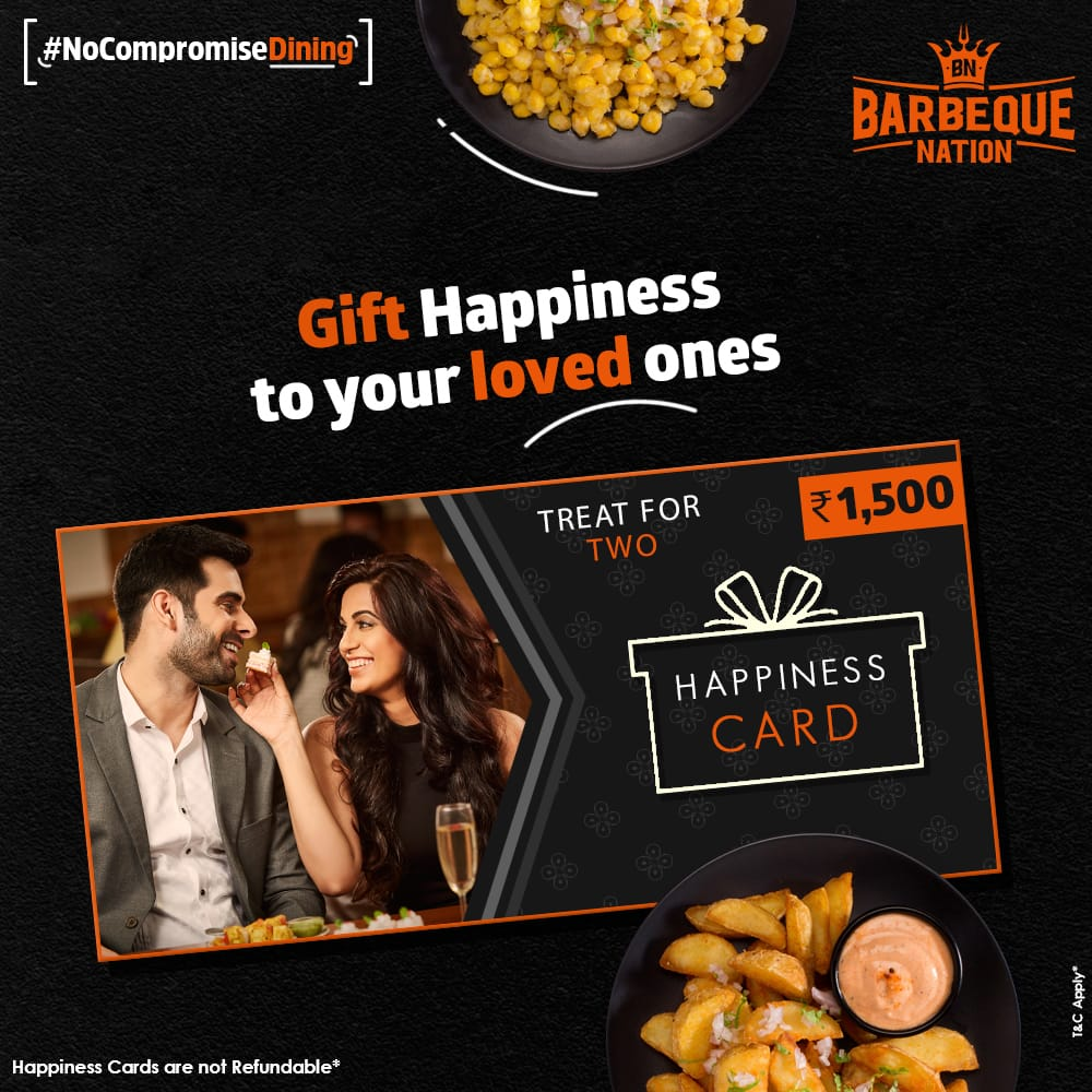 Surprise your friends and family with the happiness card. Gift card with unlimited food, unlimited fun & unlimited celebrations only @ Barbequenation. Buy now : https://t.co/dEuTUY7l1f https://t.co/yZkwqM4lP4