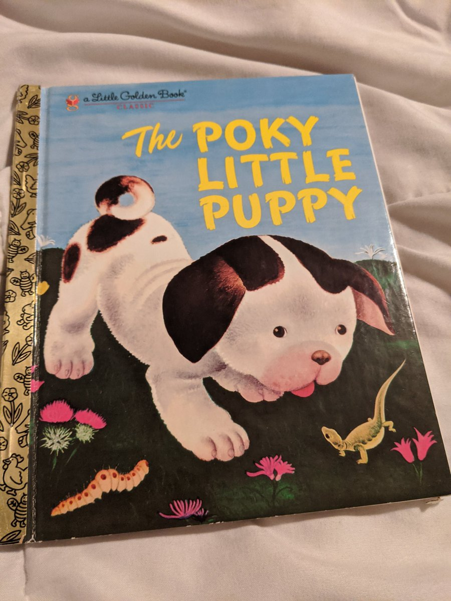 Stinker's bedtime story: The Pokey Little Puppy. I had this book when I was a kid. And even though I didn't remember the story, I bought it for my kids. What's your favorite childhood book that you shared with your own children? #MySimpleMOMents #HoustonBlackBlogger #MomOfLittles https://t.co/69cPBksG68