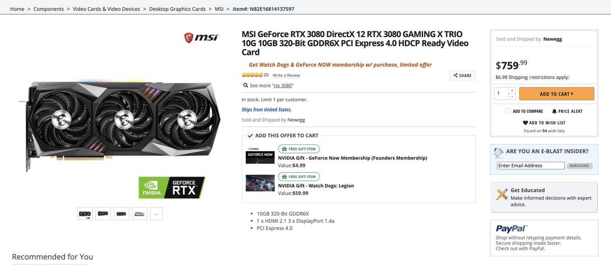 MSI GeForce RTX 3080 in stock! newegg.com/msi-geforce-rt…