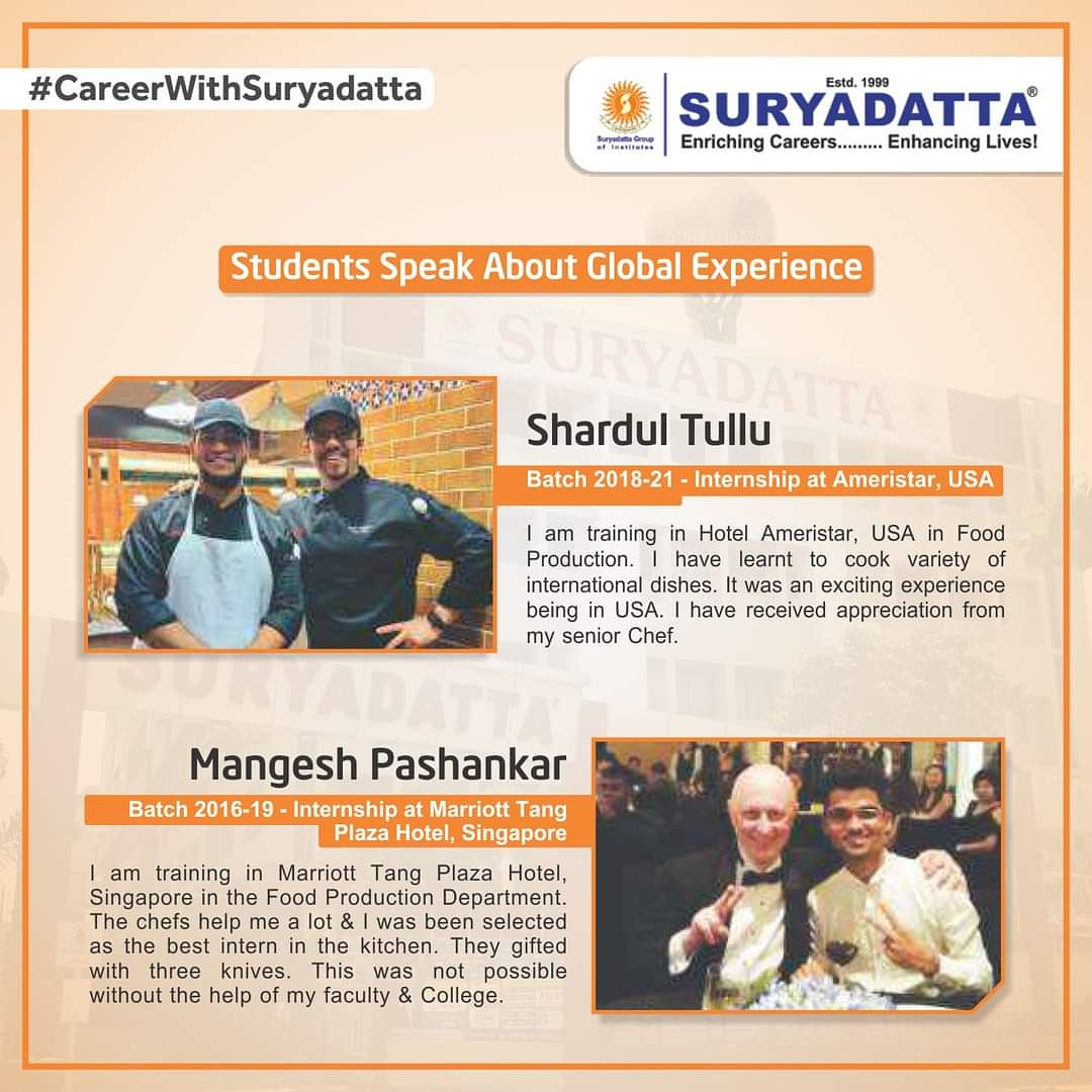 Preparing a foundation for one's career. #Suryadatta ensures practical learning and global experience to make you expert. Here are students sharing about their Global Experiences. We at Suryadatta look forward to helping more and more students with their careers.  #SGI #SCHMTT https://t.co/1mJQeabFZt
