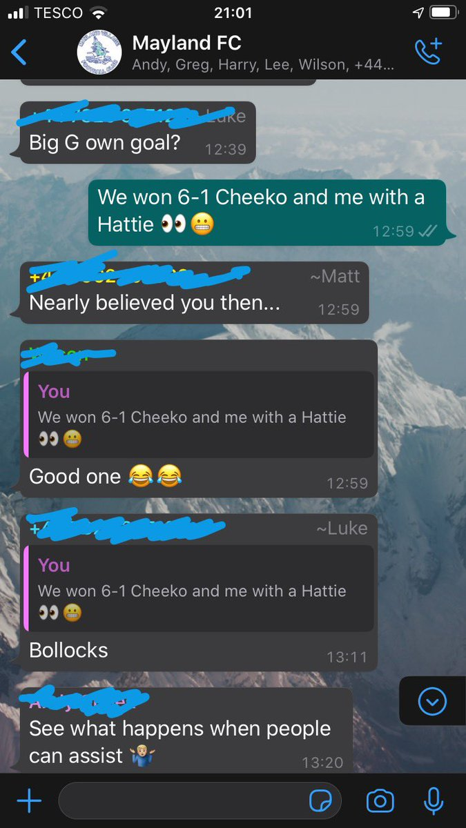 That feeling when your Saturday team doesn't believe you scored your first ever Hat-trick 👀😬 . #football #team #groupchat #lads #fortheboys #banter https://t.co/ElgsjZoPxI