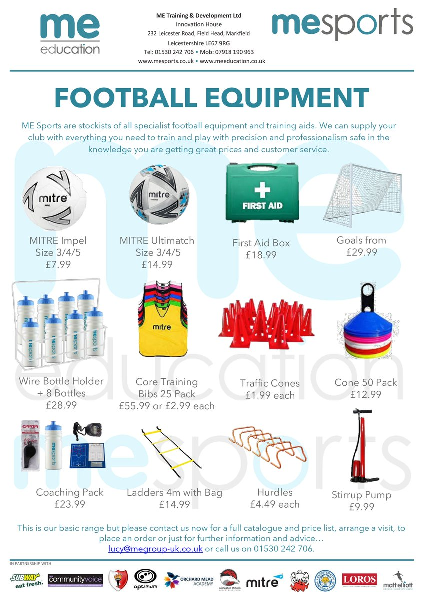 FOOTBALL EQUIPMENT for clubs and individual players… Call us on 01530 242 706 or email lucy@megroup-uk.co.uk.  #football #equipment #teams #clubs #training https://t.co/rKewRtYnKV