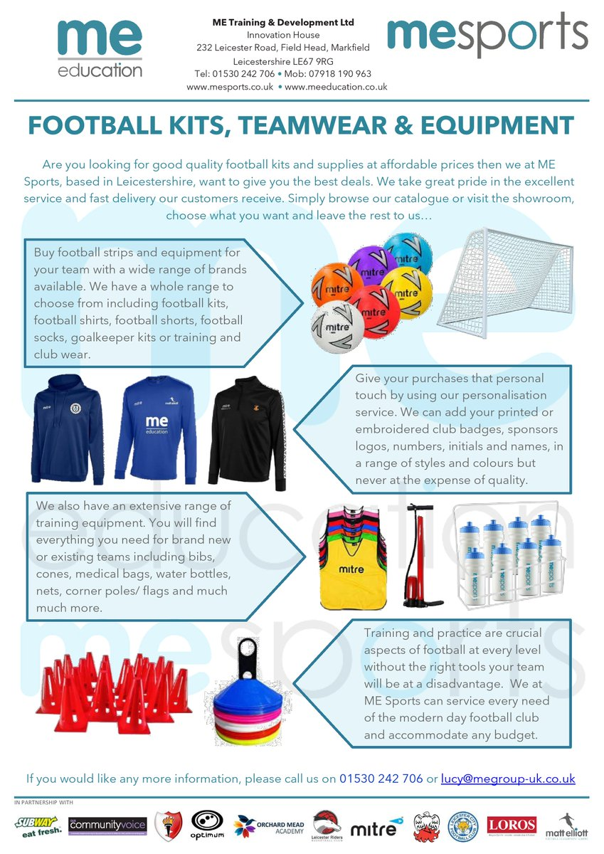 Excellent deals on FOOTBALL KITS, TEAMWEAR & EQUIPMENT!  Contact us on 01530 242 706 or lucy@megroup-uk.co.uk.  #football #kits #teamwear #equipment #sports #supplier #deals #sportwear https://t.co/o7qxzBGSaZ