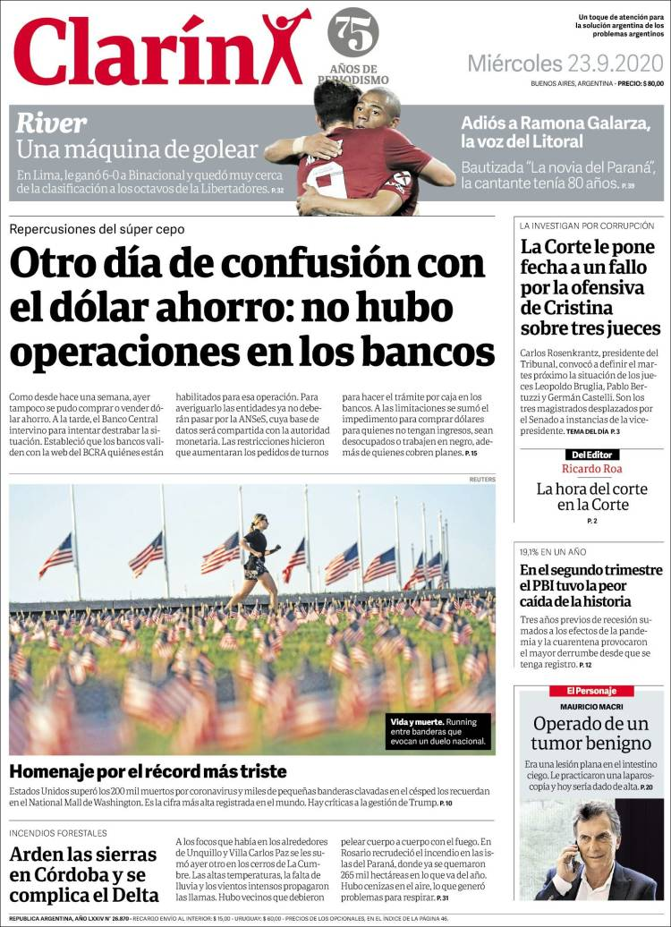 CLARIN https://t.co/QeqTreJ2nO #r2p #Clarin #Merval #Argentina #FMI #BuenosAires #Aerolineas #Covid19 #Coronavirus #US #Obama #Trump #Biden #Telefonica #AlbertoFernández #YPFB #Football #Kirchner #CarolinaPiparo #Futbol #Beirut #Lebanon #PSG #Bayern #Messi #Kenosha #JacobBlake https://t.co/0RPXoJ6mRX