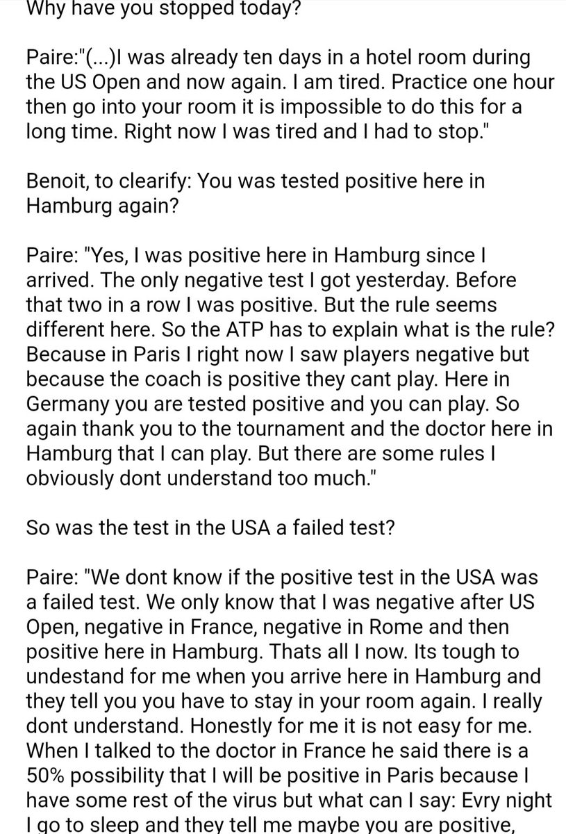 I wrote down the press part with Benoit Paire and i reasked two times. He was 2x positive and then negative according to him. Cmplete answer here.👇  Turnament says everything was according rules. Soon we can talk to the tournament doctor! Then I will update this as a thread https://t.co/6s6iU62oPf