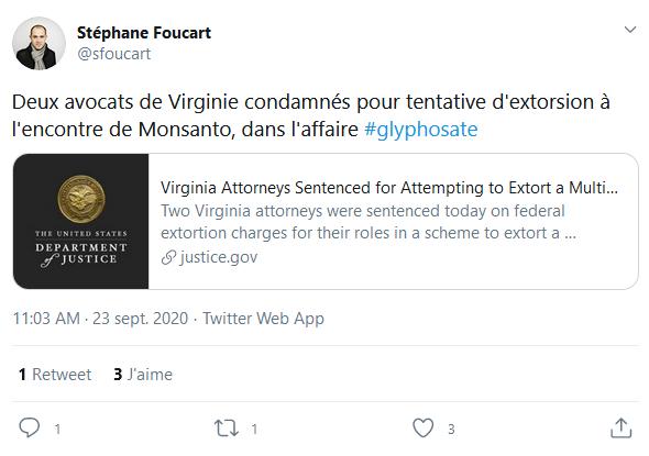Même pas un petit mot de réconfort de Stéphane Foucart pour cet avocat véreux Timothy Litzenburg qui l'a tant aidé dans l'affaire des #MonsantoPapers. Quelle ingratitude! Pour en savoir plus: https://t.co/cQIrDHQEiy https://t.co/MxCgR5ZXh4