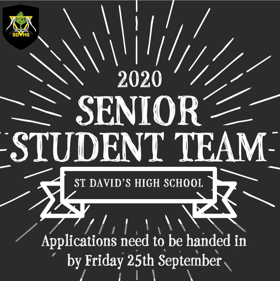 Are you a current Year 11 student of SDHS? Are you interested in becoming a member of the Student Council? If you are, then complete your letter of application and hand to Mrs. Hainsworth or your form tutor by this Friday 25th September. #Studentcouncil #schools https://t.co/TM3yyIWDGX