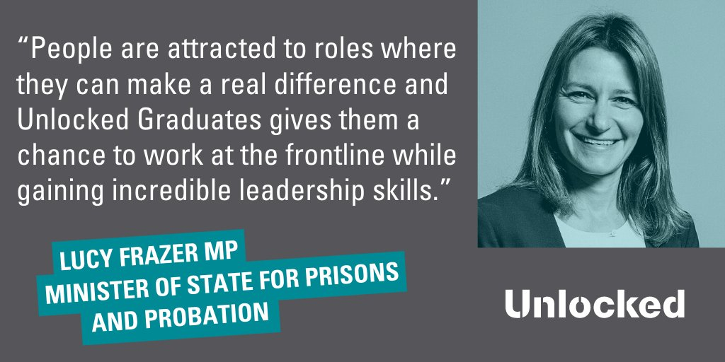 With record applications again this year, the Unlocked programme is giving more grads the opportunity for personal development and rewarding careers in prisons tackling society's biggest challenges.  Latest news: https://t.co/rg7BG3HgOt   @MoJGovUK @hmpps @lucyfrazermp https://t.co/o4HX73ibEw
