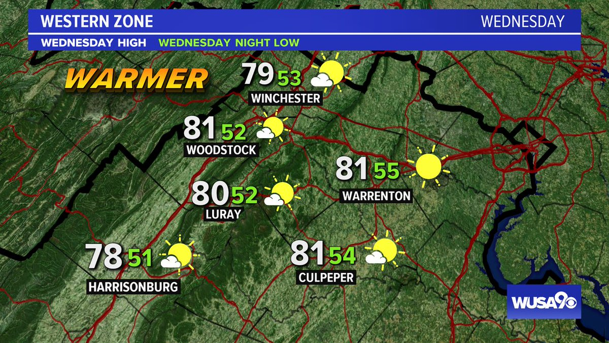 Here is your zone forecast. A gorgeous day after a chilly start. @FCPS1News @ CulpeperSchools @WinchesterPD @wusa9 @HBWX @miriweather @chesterlampkin #WFH #wusa9weather #weather #DC #dcwx #vawx #mdwx #GetUpDC https://t.co/22dBSKhDf4 https://t.co/svZgbMcKRI