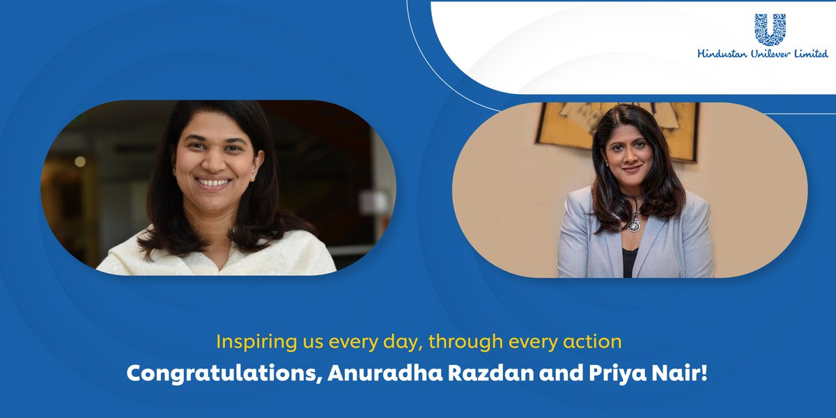 You epitomise #empathetic & effective #leadership – Congratulations, Anuradha Razdan, Executive Director Human Resources, HUL & Priya Nair, Executive Director Beauty & Personal Care, HUL, for featuring in @BT_India's list of 'India's Most Powerful Women' #PeopleWithPurpose https://t.co/FlK3SL8bMJ
