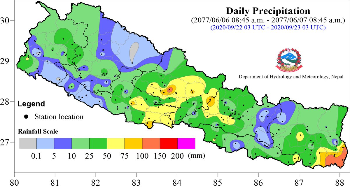 #Precipitation_update_23September2020 The highest daily precipitation of 136.2 mm is recorded at Kankai of Jhapa district. For more information, please, visit https://t.co/imU6lr93uf. Also, check weather forecast for three days https://t.co/UvOww4lttx
