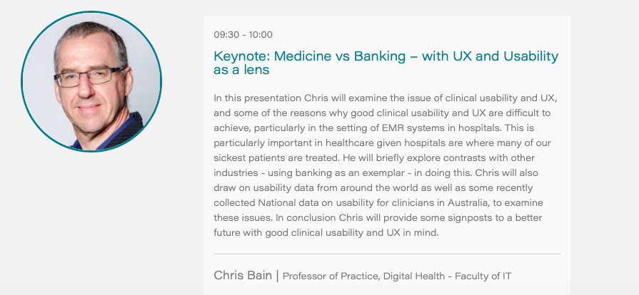 #UXHealthcare Australia Online - *Speaker Announcement* Chris Bain @monashdigital  Medicine vs Banking - with UX and Usability as a lens.  #UX #UXResearch #DesignThinking #DigitalHealth #DigitalTherapeutics #Usability   ✅ 14th October 9:30am AEST  ✅ Registration now open https://t.co/wHa9TAkMIZ