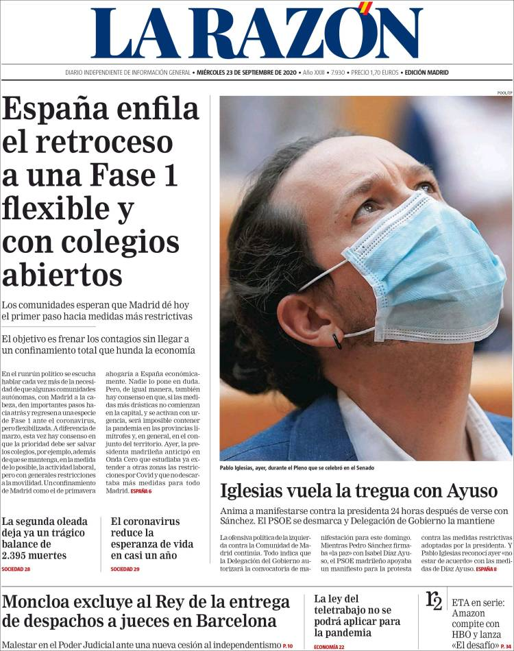 LA RAZON https://t.co/eYE9FisZ1z #r2p #LaRazon #Razon #Spain #Espana #Espagne #Coronavirus #USA #UE #Europe #Obama #Biden #Trump #Covid19 #PedroSanchez #Ibex35 #Euro #FelipeVI #JuanCarlos #CorinnaLarsen #Sofia #Beirut #Lebanon #Podemos #Messi #IsabelDiazAyuso https://t.co/DcZw1GsWk3